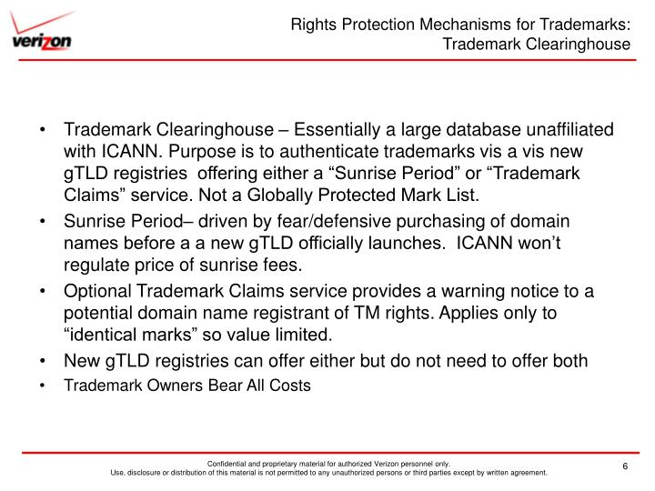 Rights Protection Mechanisms for Trademarks: