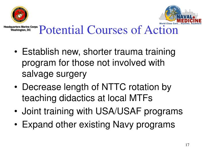 Potential Courses of Action
