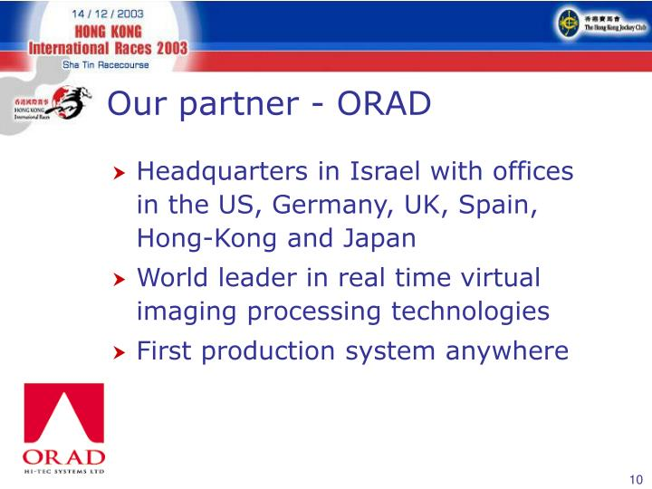 Our partner - ORAD