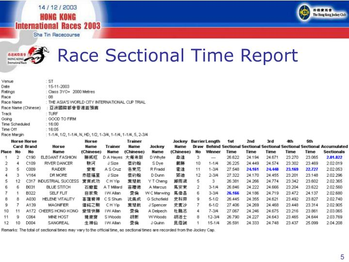 Race Sectional Time Report