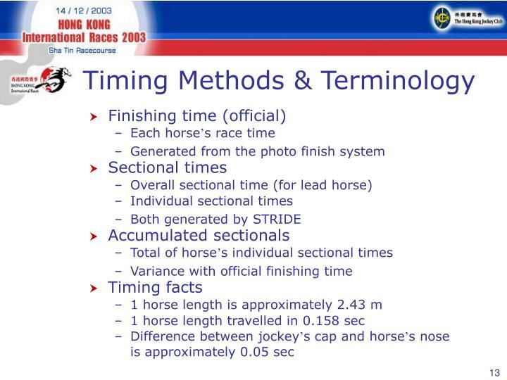 Timing Methods & Terminology