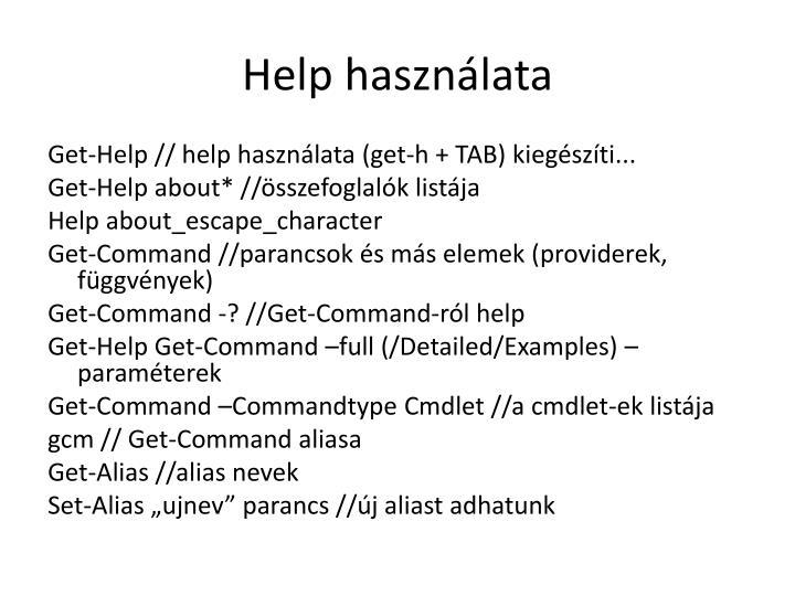 Help használata