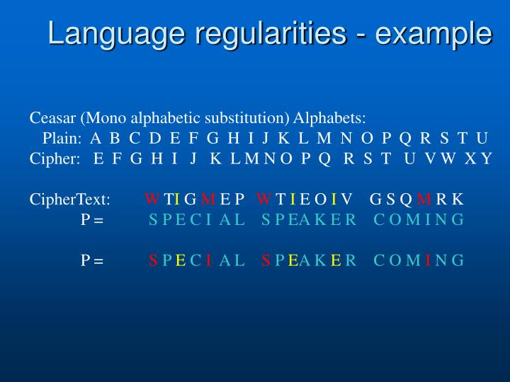Language regularities - example