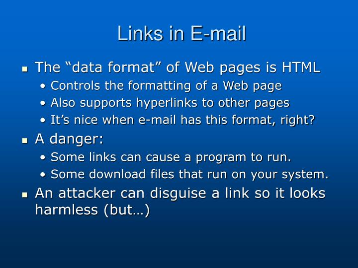 Links in E-mail