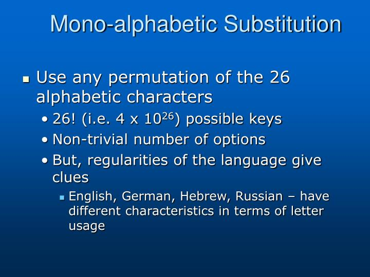 Mono-alphabetic Substitution