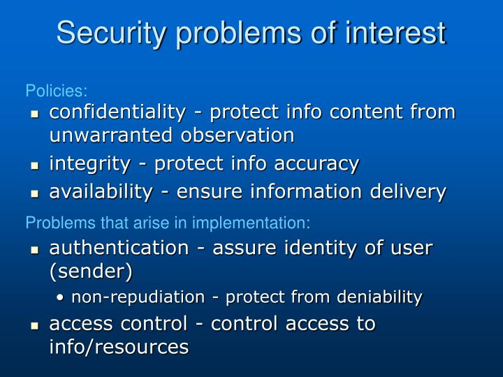 Security problems of interest