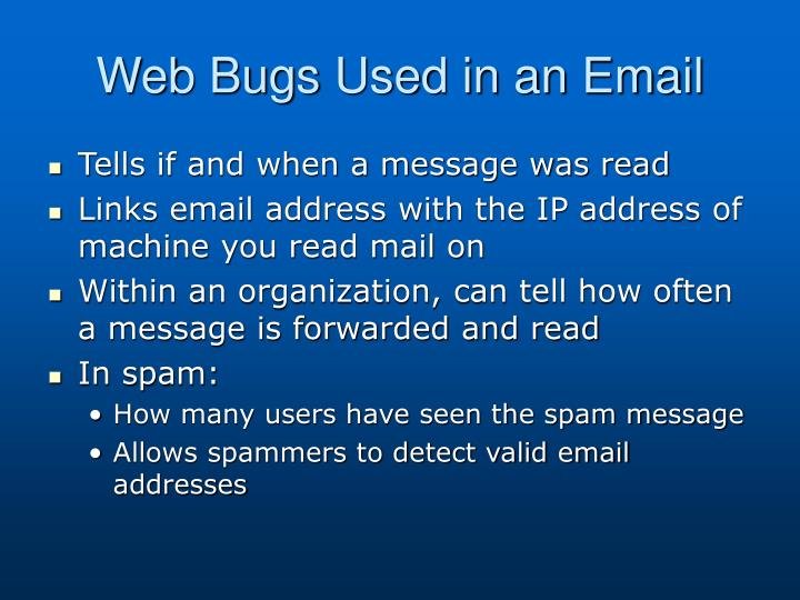 Web Bugs Used in an Email