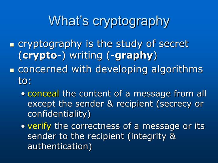 What's cryptography