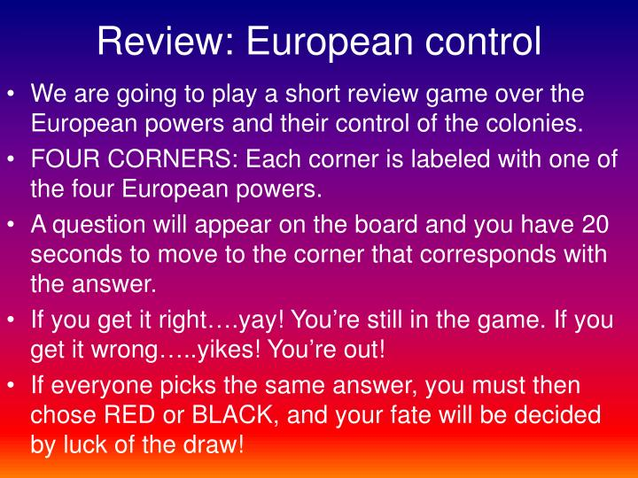 Review european control