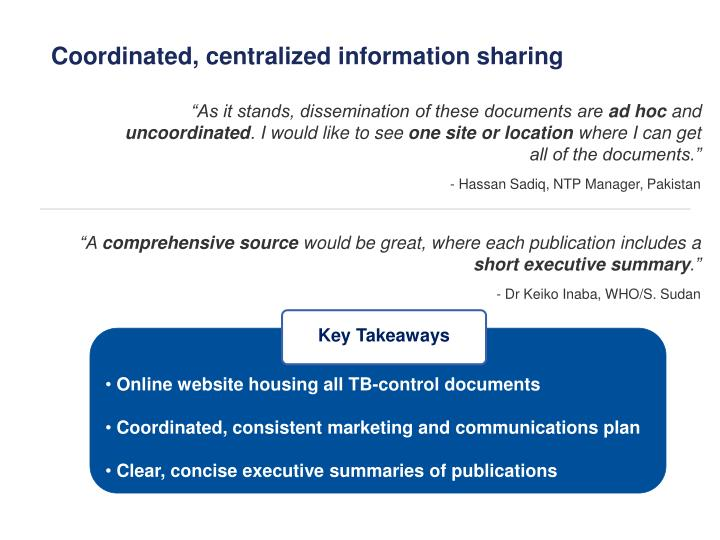 Coordinated, centralized information sharing