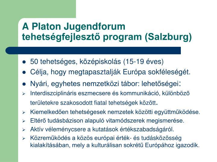 A Platon Jugendforum tehetségfejlesztő program (Salzburg)