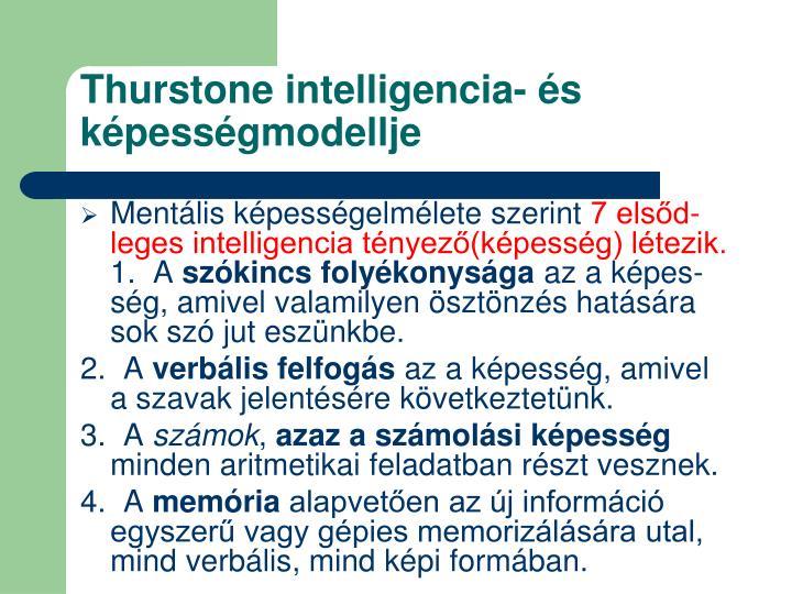 Thurstone intelligencia- és képességmodellje