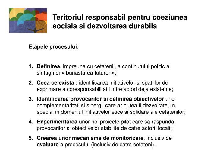 Teritoriul responsabil pentru coeziunea sociala si dezvoltarea durabila