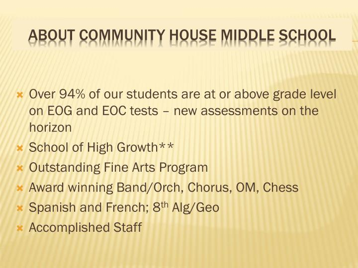 Over 94% of our students are at or above grade level on EOG and EOC tests – new assessments on the horizon