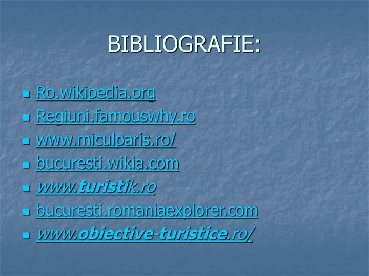 BIBLIOGRAFIE: