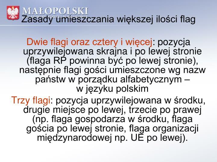 Zasady umieszczania większej ilości flag