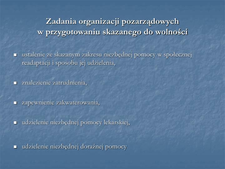 Zadania organizacji pozarządowych