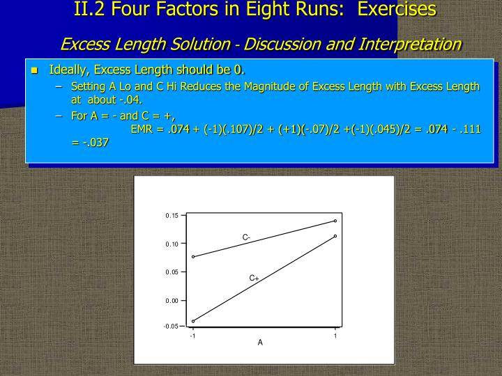 II.2 Four Factors in Eight Runs:  Exercises