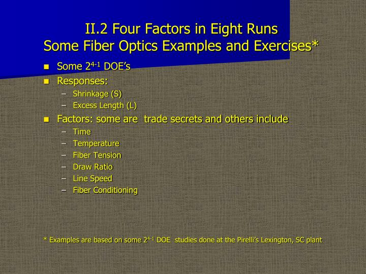 Ii 2 four factors in eight runs some fiber optics examples and exercises
