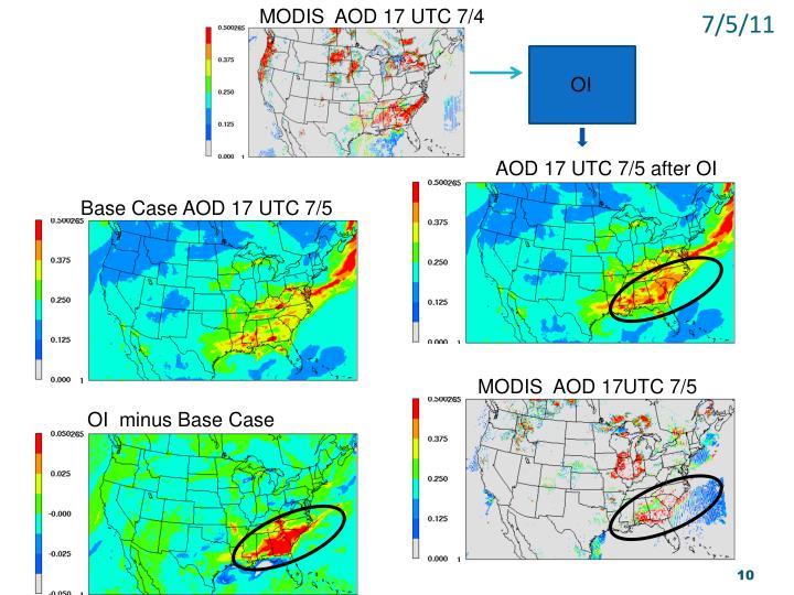 MODIS  AOD 17 UTC 7/4