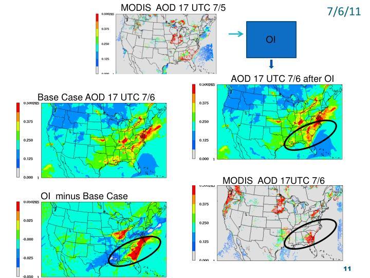 MODIS  AOD 17 UTC 7/5