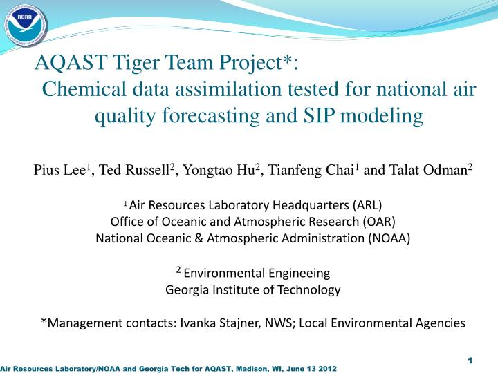 AQAST Tiger Team Project*: