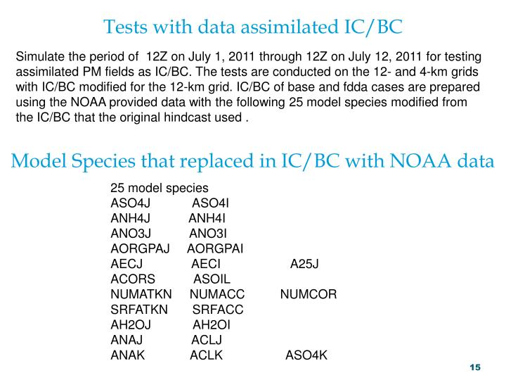 Tests with data assimilated IC/BC