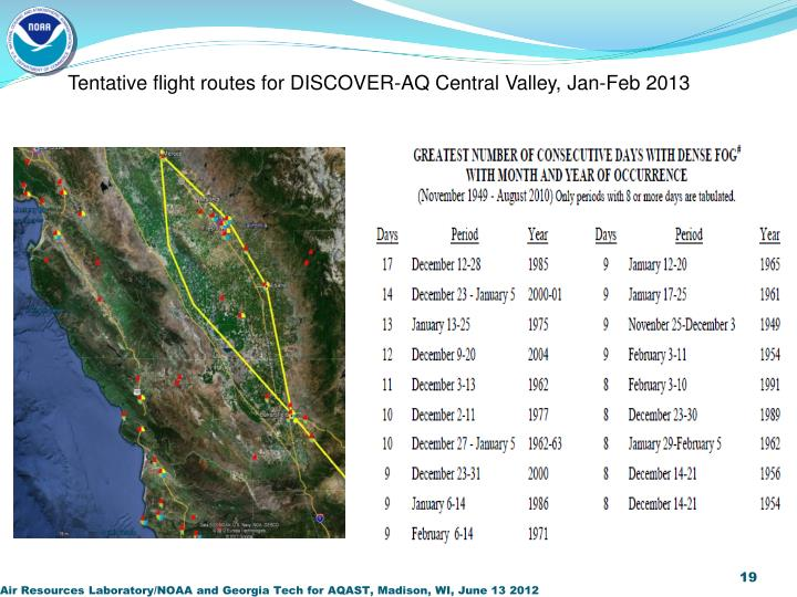 Tentative flight routes for DISCOVER-AQ Central Valley, Jan-Feb 2013