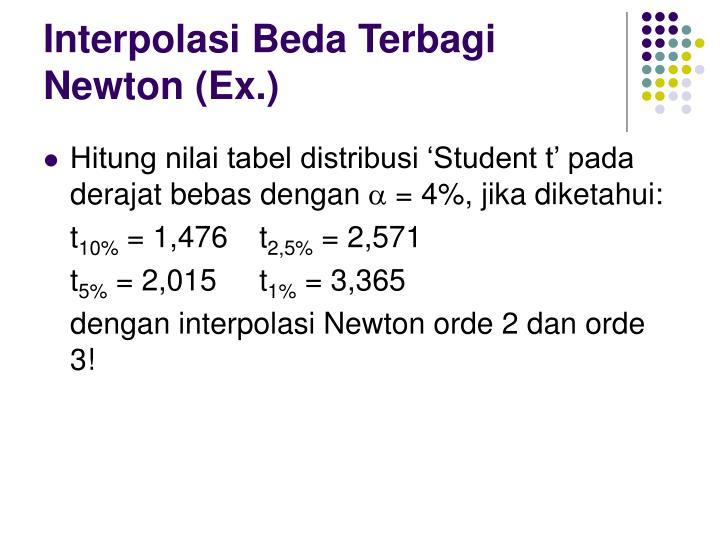 Interpolasi Beda Terbagi Newton (Ex.)