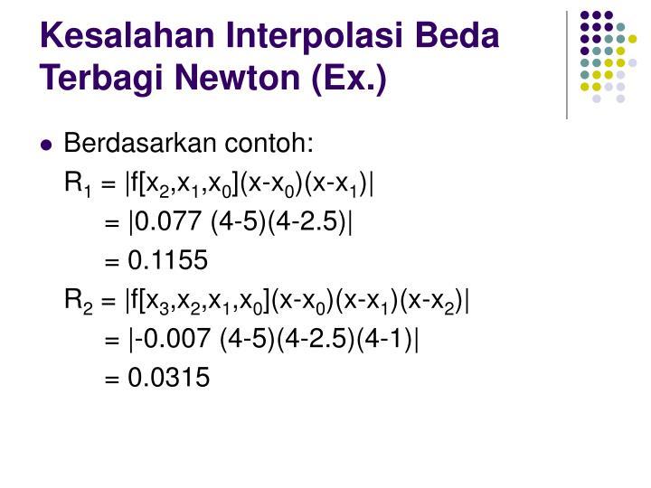 Kesalahan Interpolasi Beda Terbagi Newton (Ex.)
