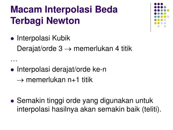 Macam Interpolasi Beda Terbagi Newton