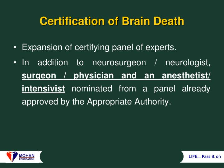 Certification of Brain Death