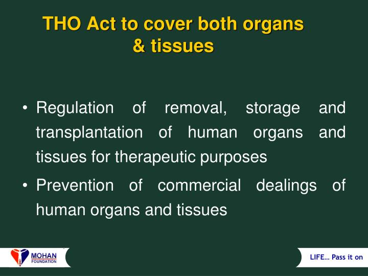 Tho act to cover both organs tissues