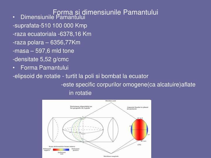 Forma si dimensiunile Pamantului