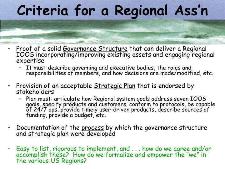 Criteria for a Regional Ass'n
