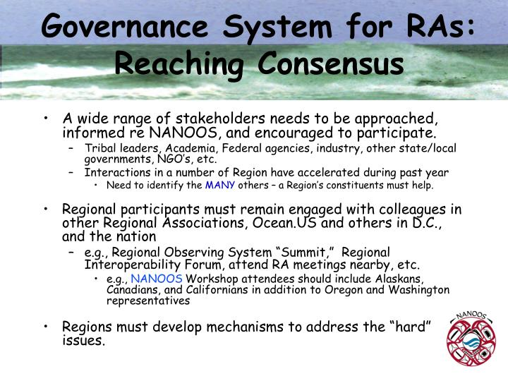 Governance System for RAs: Reaching Consensus