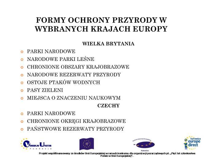 FORMY OCHRONY PRZYRODY W WYBRANYCH KRAJACH EUROPY