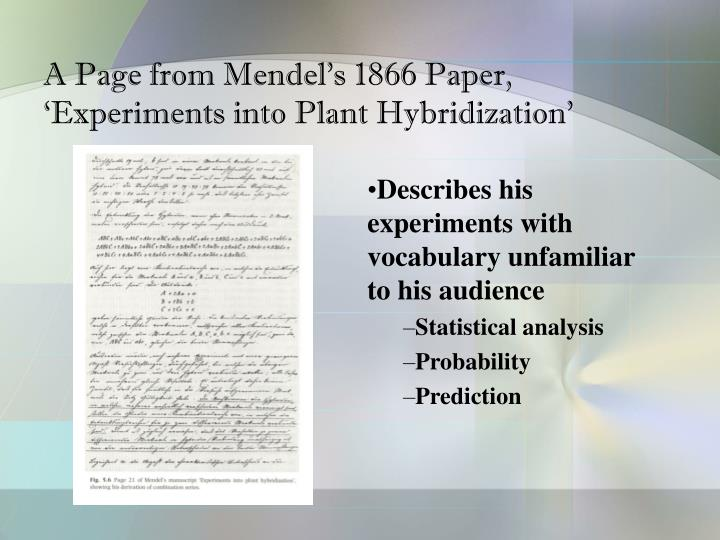 A Page from Mendel's 1866 Paper, 'Experiments into Plant Hybridization'