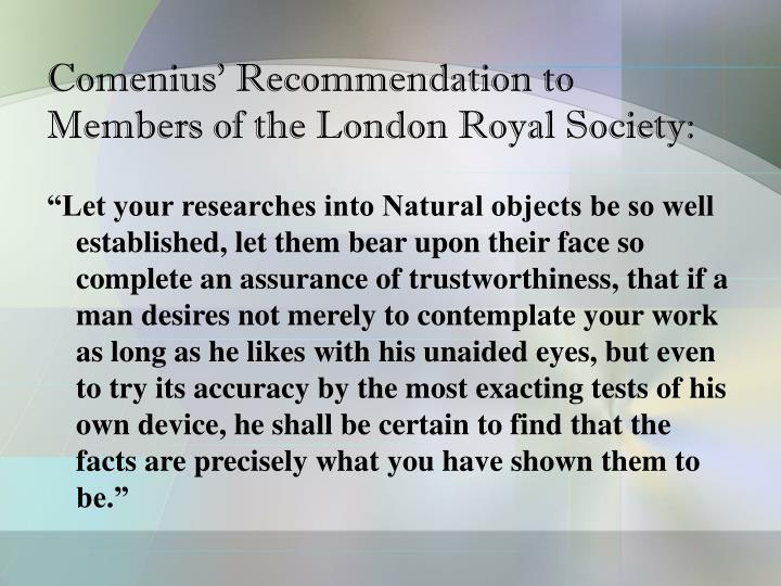 Comenius' Recommendation to Members of the London Royal Society: