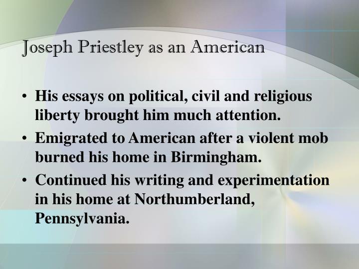 Joseph Priestley as an American