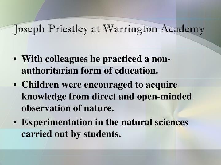 Joseph Priestley at Warrington Academy