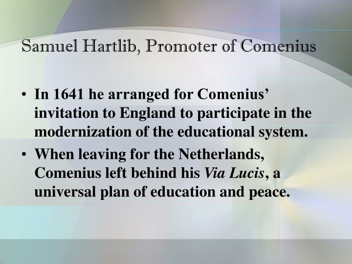 Samuel Hartlib, Promoter of Comenius