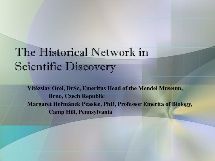 The historical network in scientific discovery