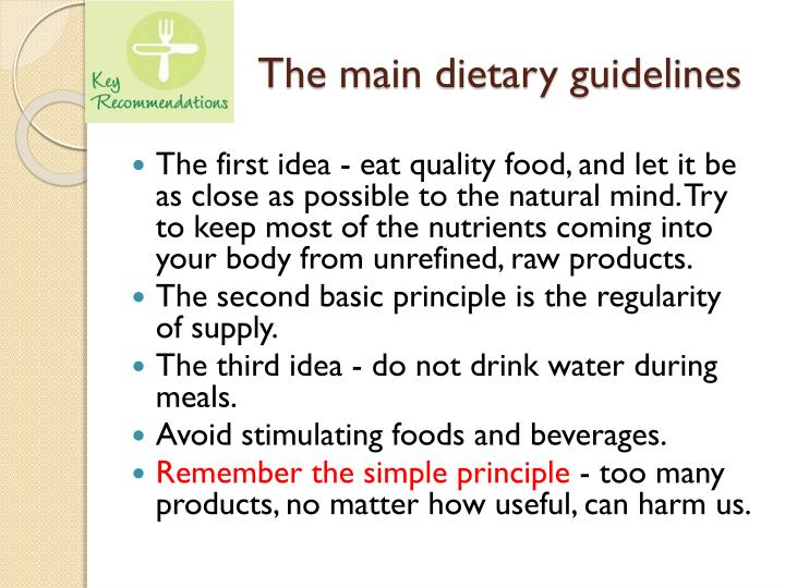 The main dietary guidelines