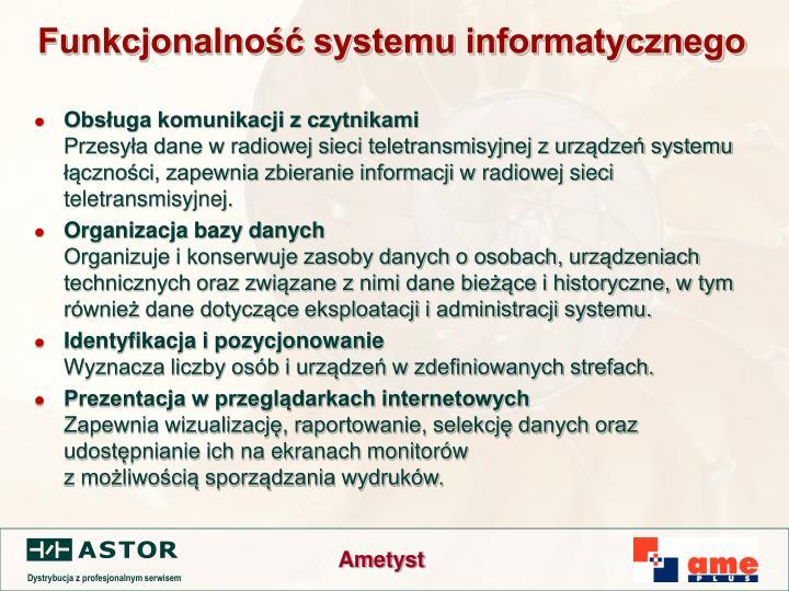 Funkcjonalność systemu informatycznego