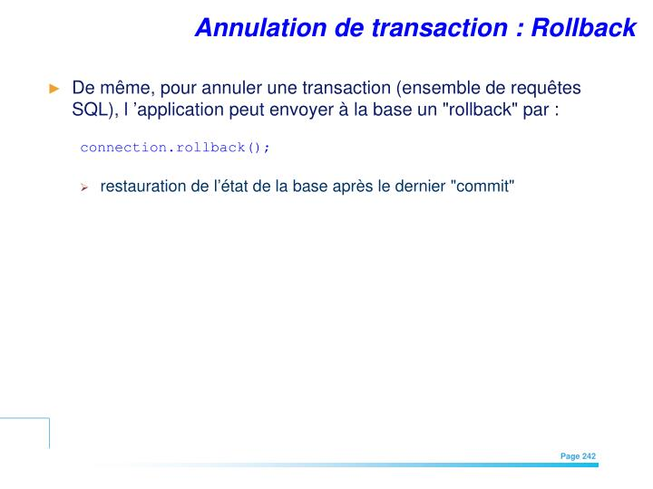 Annulation de transaction : Rollback