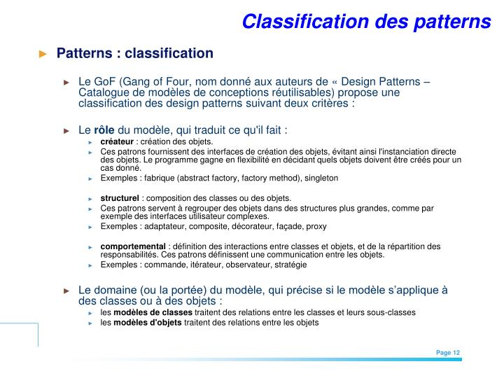 Classification des patterns