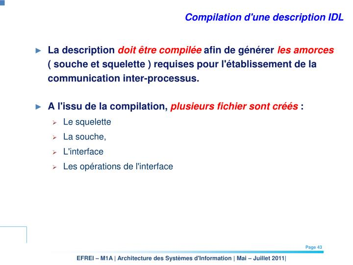 Compilation d'une description IDL