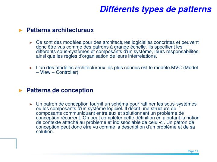 Différents types de patterns