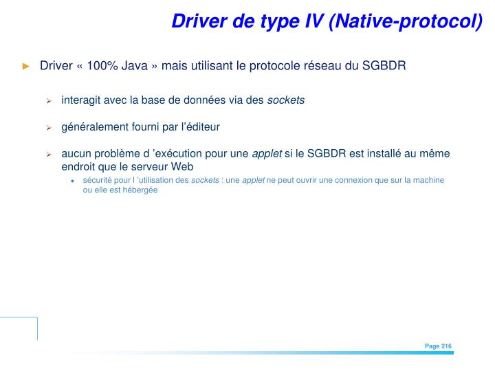 Driver de type IV (Native-protocol)